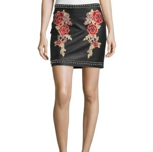 Faux-Leather Studded Embroidered Skirt